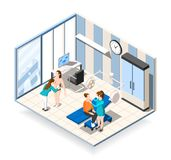 Plastic Surgery Isometric Composition. With female patients receiving consultation in clinic of aesthetic medicine vector illustration Stock Photos