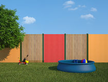 Plastic swimming pool in the garden Stock Photography