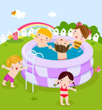 Plastic swimming pool with kids Royalty Free Stock Photography