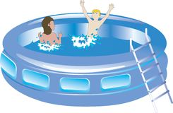 Plastic swimming pool with kids Royalty Free Stock Images
