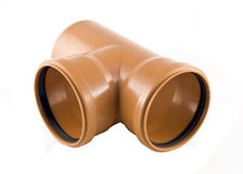 Plastic T-branch sewer pipe isolated over white Royalty Free Stock Photo