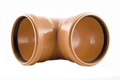 Plastic t-Vormige geïsoleerded rioolbuis royalty-vrije stock foto