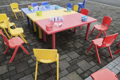 Plastic tables and chairs Royalty Free Stock Photography