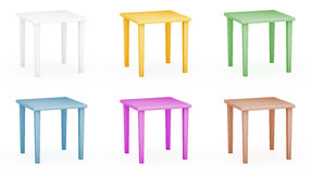 Plastic tables set Royalty Free Stock Photography