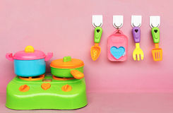 Plastic tableware. Plastic toys kids play,the game each family.play house toys,plastic tableware Stock Photo