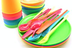 Plastic tableware Royalty Free Stock Photos