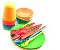 Plastic tableware Royalty Free Stock Images