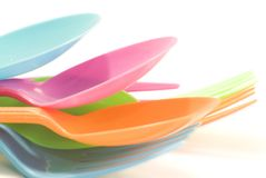 Plastic tableware consisting of spoon and fork Stock Photos