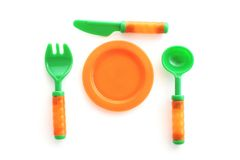 Plastic tableware toys Royalty Free Stock Photo