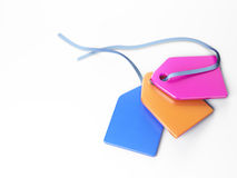 Plastic tags 3d model. Colored plastic tags isolated 3d model Stock Image