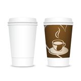 Plastic takeaway coffee cups. Isolated on white background stock illustration