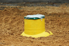 Plastic tank gas oil catcher in the ground during the construction of a car park for tourist buses, Russia. Stock Photos