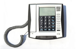 Plastic telephone set with line Royalty Free Stock Images
