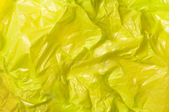Plastic texture. Yellow trash bag plastic texture stock images