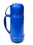 Plastic thermos. Old blue plastic thermos for drinks, it is isolated on the white Royalty Free Stock Image