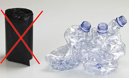 Plastic. Three isolated plastic bottle ready for the recycling Royalty Free Stock Images