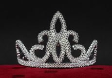 Plastic tiara on black background stock photos