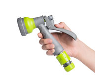 Plastic tip garden sprayer garden hose. Stock Image