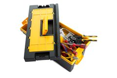 Plastic tool box with tools. On white background stock photography