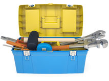 Plastic tool box with tools Royalty Free Stock Image