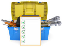 Plastic tool box with tools Royalty Free Stock Images