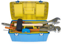 Plastic tool box with tools Stock Photography