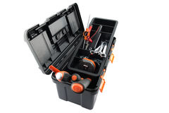 Plastic tool box with tools Stock Photo