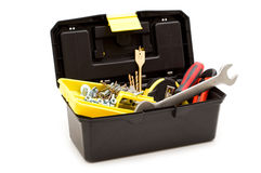 Plastic toolbox and tools Stock Photo