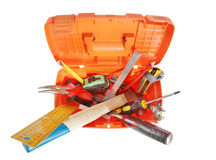 Plastic toolbox with various working tools isolated over white Royalty Free Stock Photography