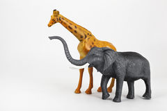 Plastic toy animals giraffe and elephant Stock Photography