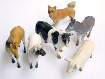 Plastic toy animals on white Stock Photos