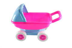 Plastic Toy Baby Carriage. Pink and blue color plastic toy baby carriage Royalty Free Stock Photos