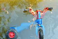 Plastic toy bike as wastes on river bed Royalty Free Stock Image