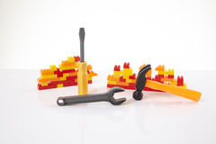 Plastic toy blocks Royalty Free Stock Images