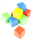Plastic toy blocks isolated on white background. Stock Photography