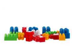 Plastic toy blocks isolated on white Royalty Free Stock Images
