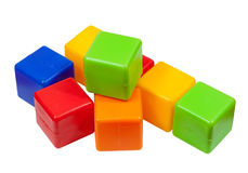 Plastic toy blocks on white Stock Photo