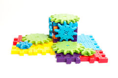 Plastic toy blocks on white background Stock Image