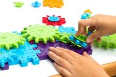 Plastic toy blocks on white background Stock Photos