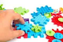 Plastic toy blocks on white background Stock Images