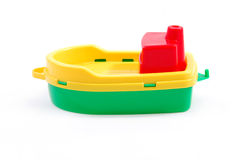 Plastic toy boat Stock Images