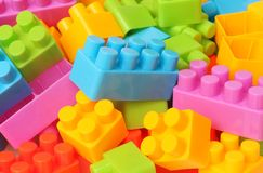 Plastic toy building blocks. Educational toys for kids stock photos