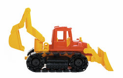 Plastic toy bulldozer Royalty Free Stock Images