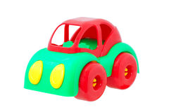 Plastic toy car. Red and green Stock Photos