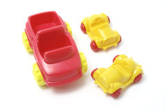 Plastic Toy Cars. On White Background stock images