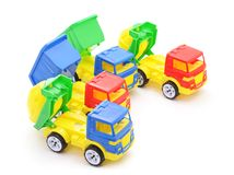 Plastic toy cars. Plastic toy cars on a white background Stock Images