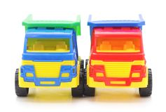 Plastic toy cars. Plastic toy cars on a white background Stock Photography