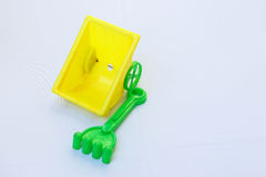Plastic toy for children play beach on white Royalty Free Stock Photo