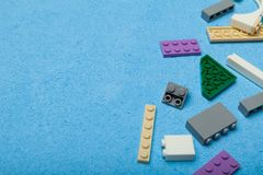 Plastic toy cubes, copy space for text royalty free stock photos