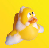 Plastic toy duck with soap bubble Stock Photo